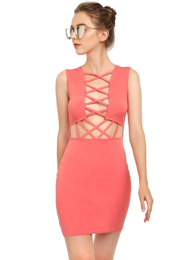 PEEK-A-BOO PINK BODYCON DRESS
