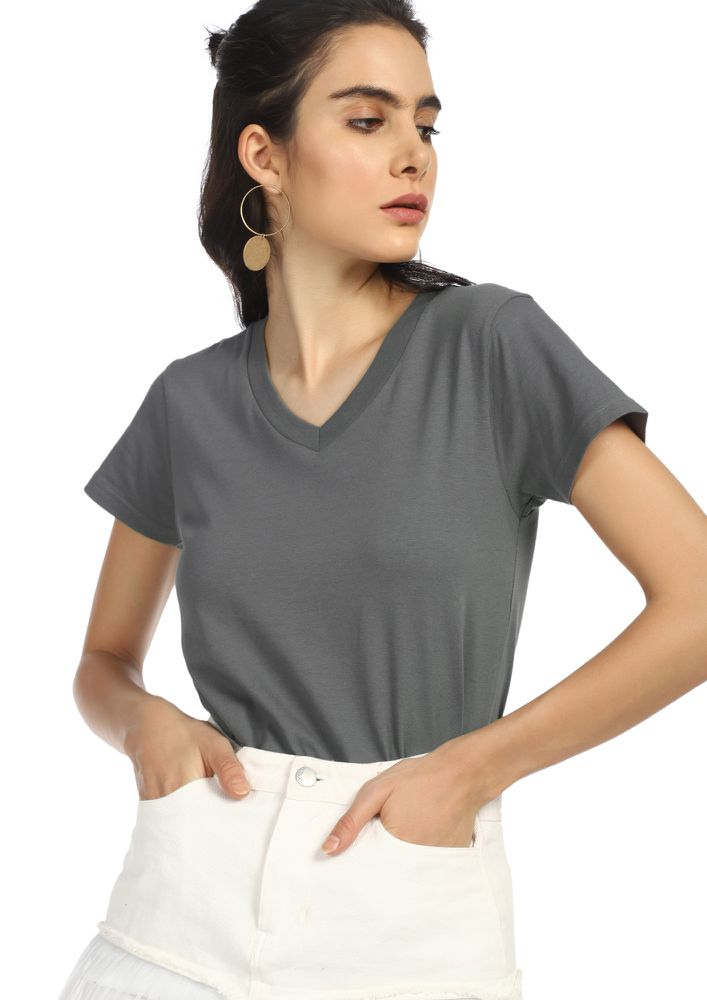 CASUAL STREET STYLE SPORT GREY T-SHIRT