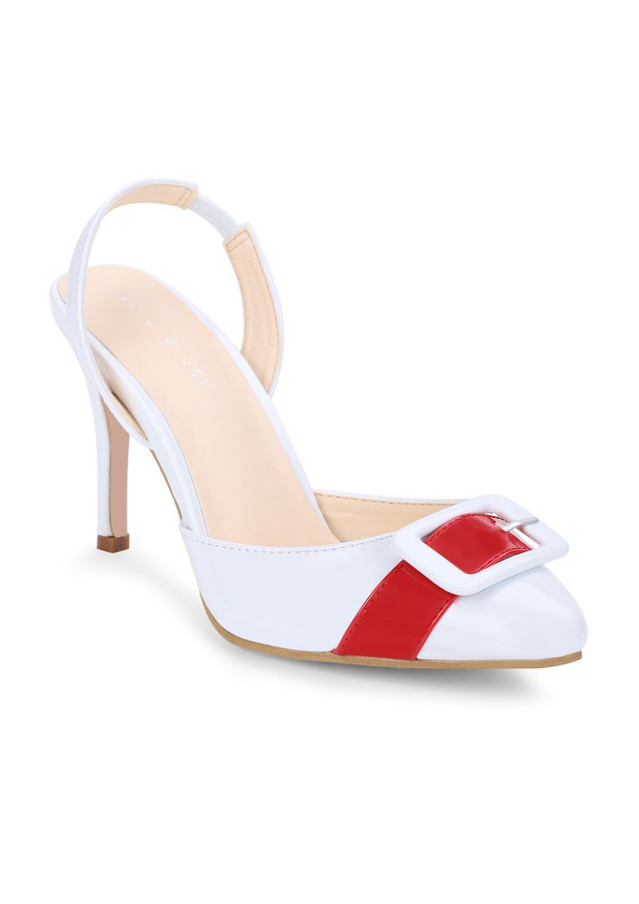 LOCK IT IN WHITE HEELED SANDALS