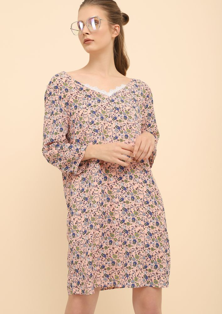 FLOWER FANCY PINK SHIFT DRESS