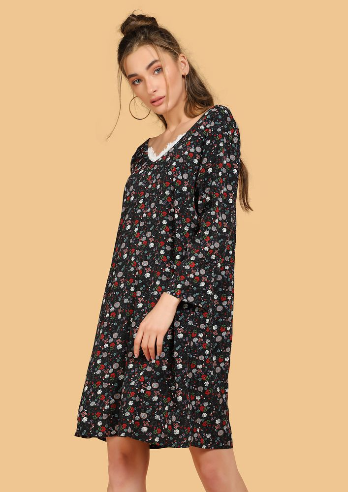 FLOWER FANCY BLACK SHIFT DRESS