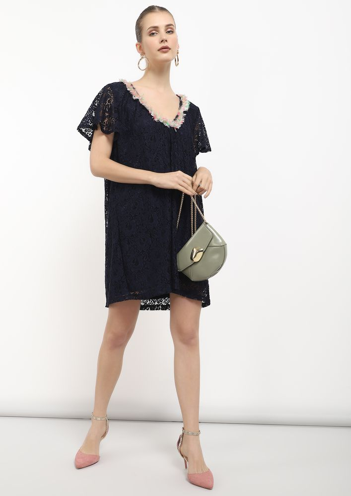 FRINGE FRENZY NAVY LACE SHIFT DRESS