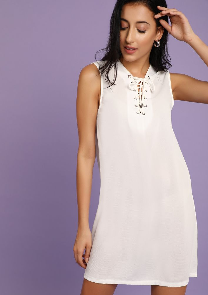 NO NONSENSE PLEASE WHITE SHIFT DRESS