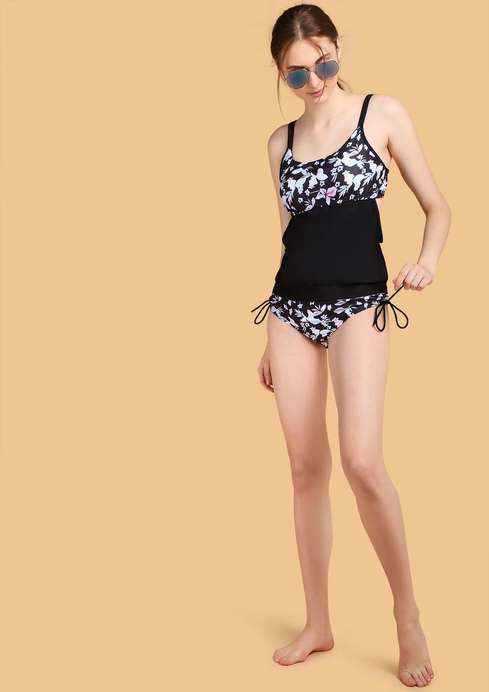 SWIM SEASON READY PRINTED BLACK BEACHWEAR SET