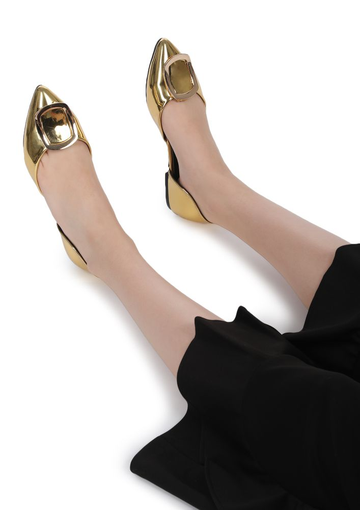 TAKE THE METALLIC WAY GOLDEN SLIP ONS