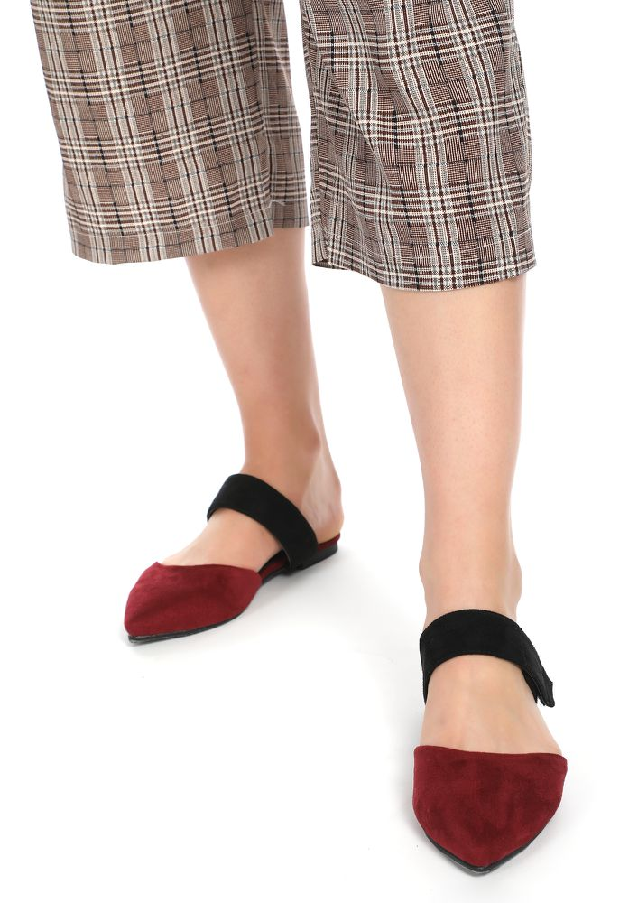 A CLOSE AFFAIR  MARSALA RED SLIP ONS