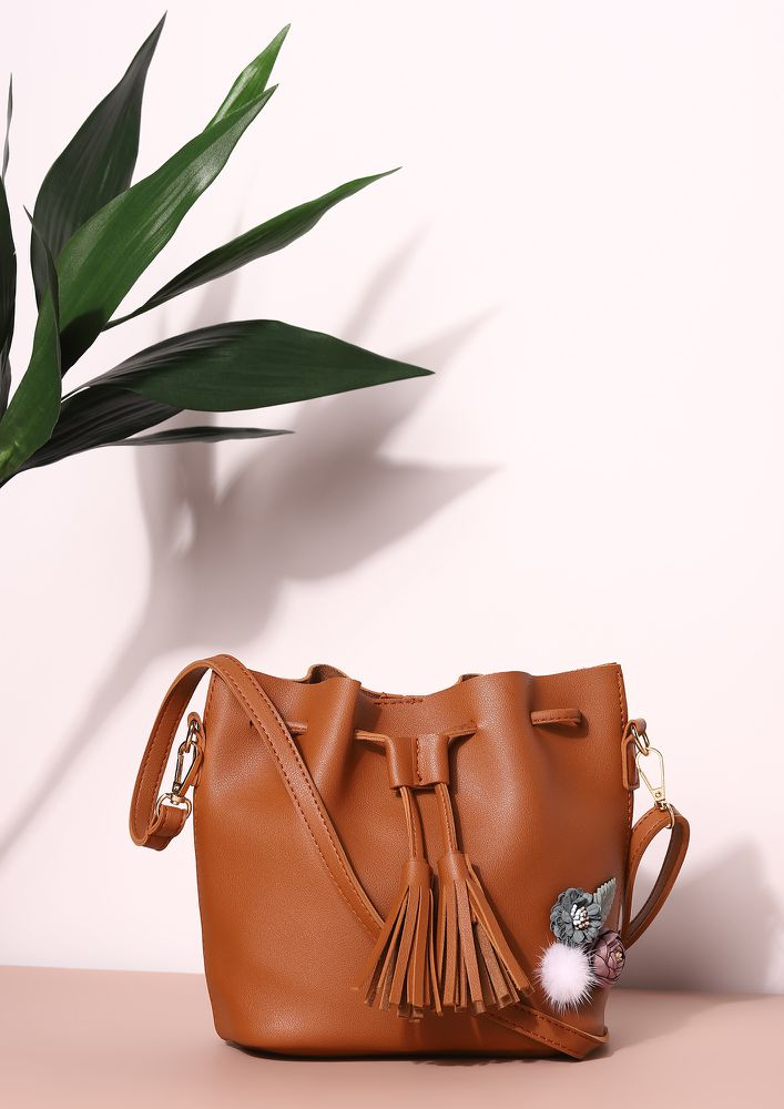 ALL THAT MATTER IN BROWN BUCKET BAG