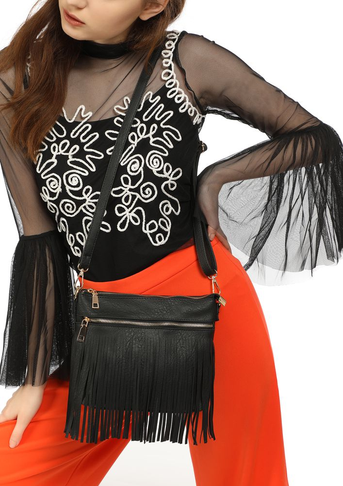 LET'S KEEP FRINGING BLACK SLING BAG