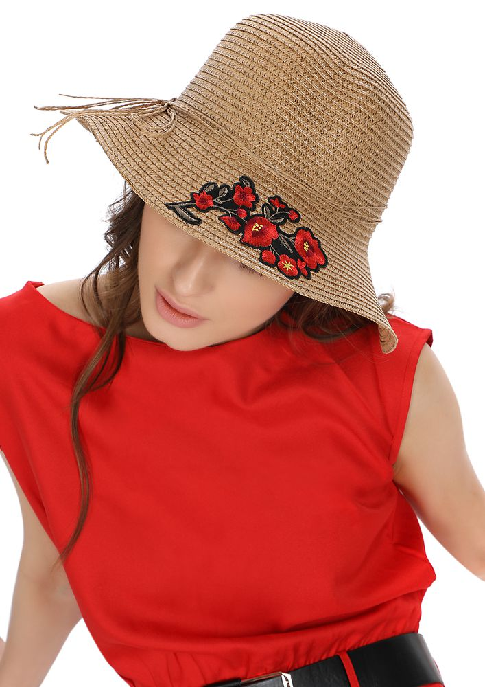 PLAYING COY WITH SUNSHINE BROWN STRAW HAT