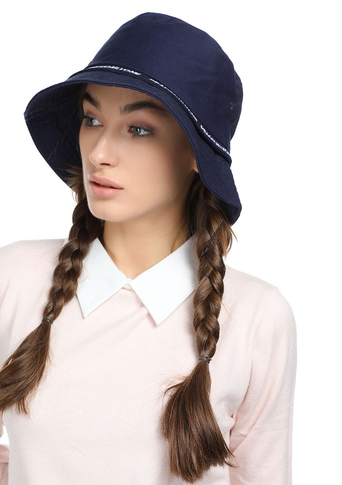 RIBBON DATES NAVY BUCKET HAT