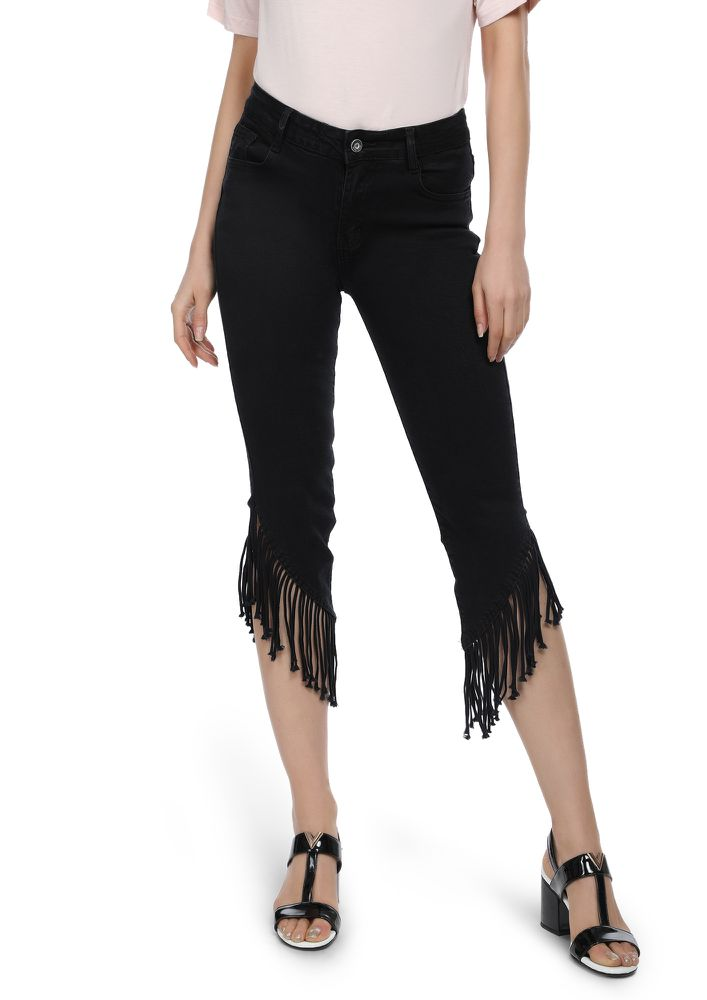 I LOVE YOU FRINGES BLACK DENIMS