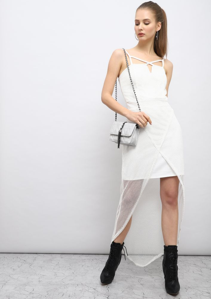 STRIKE A BALANCE WHITE ASYMMETRICAL DRESS