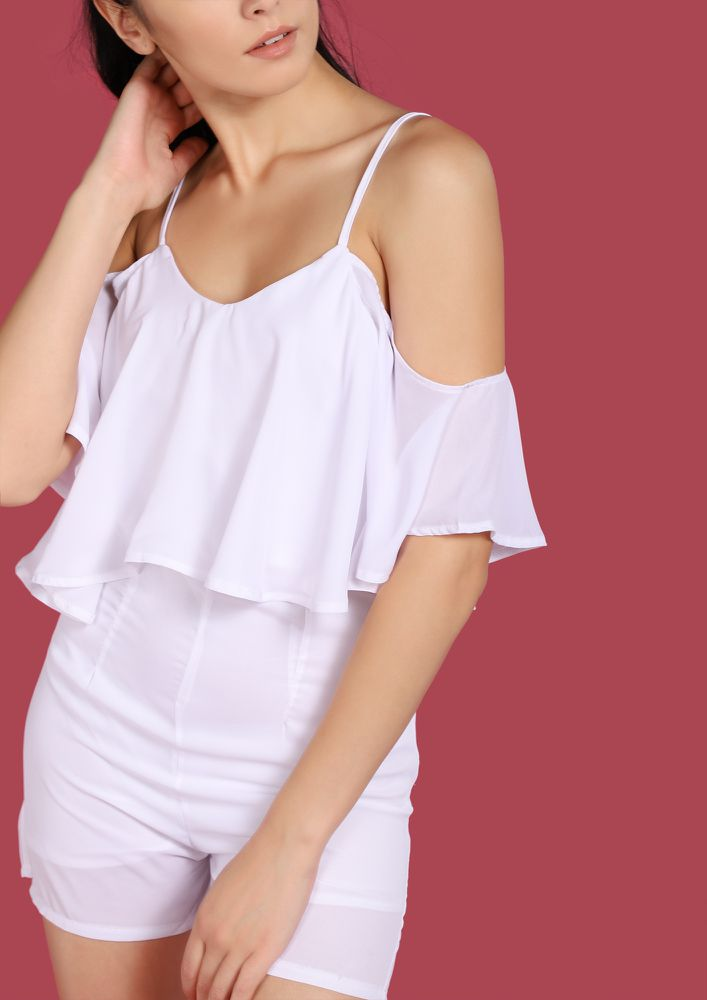 FALLING IN AWESOMENESS WHITE ROMPER