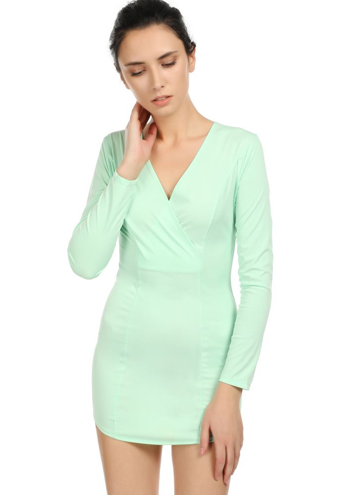 THAT'S A WRAP GREEN BODYCON DRESS