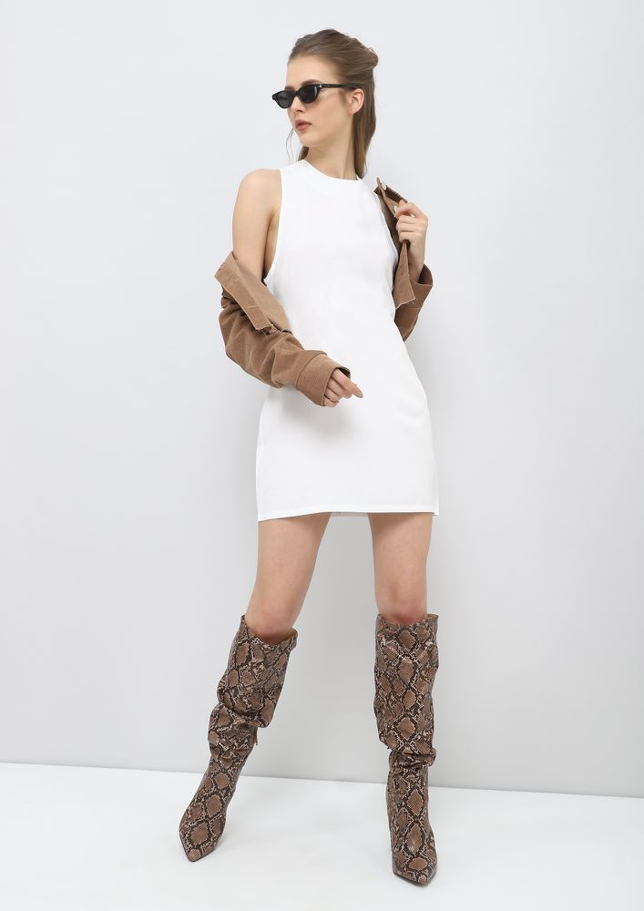 LOOK INTO MY EYE-LETS WHITE TUNIC DRESS