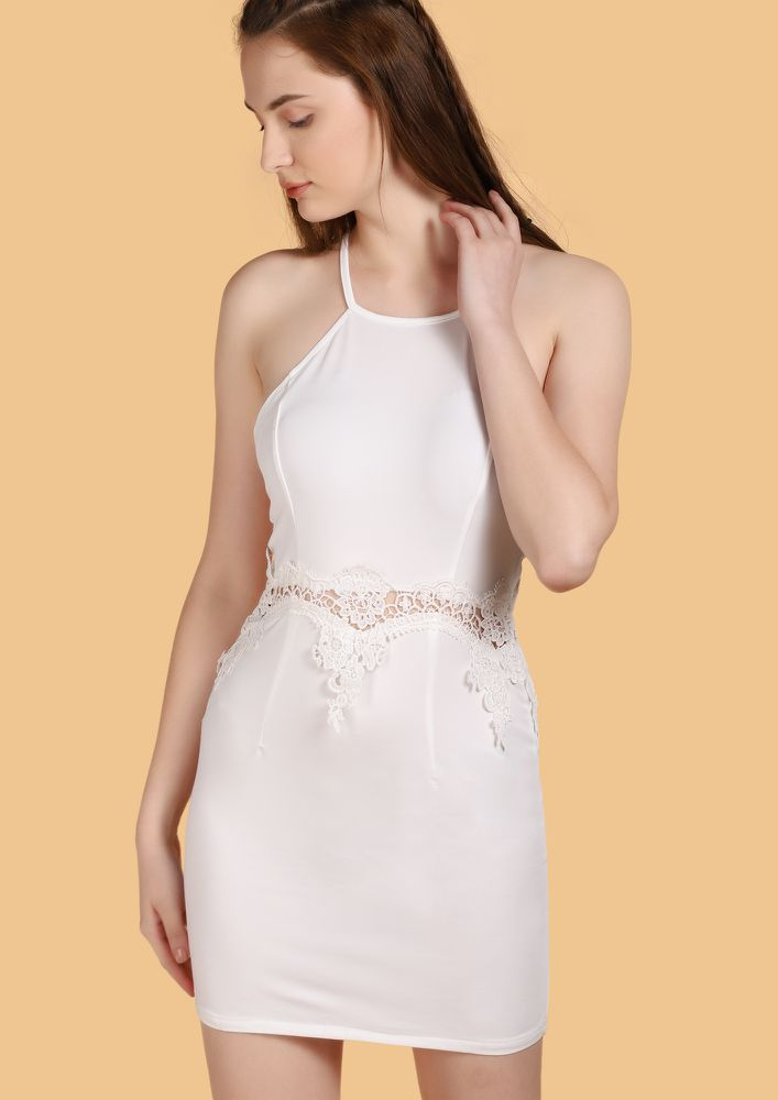 NEVER IN A HURRY WHITE BODYCON DRESS