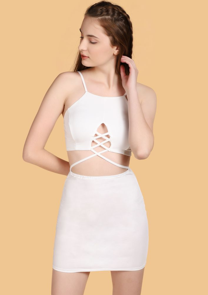 WINE O'CLOCK WHITE BODYCON DRESS