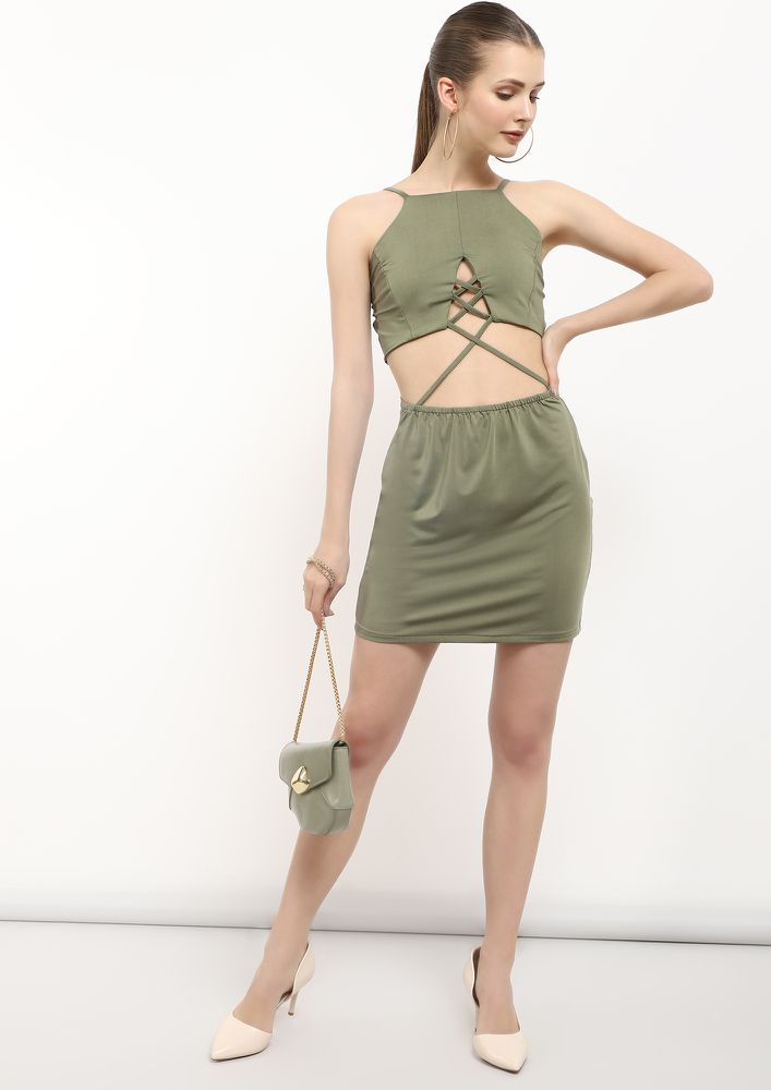 WINE O'CLOCK GREEN BODYCON DRESS
