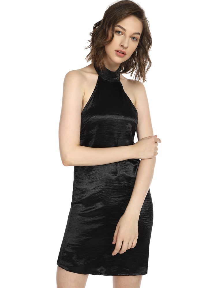 I FEEL YOU BLACK SATIN DRESS