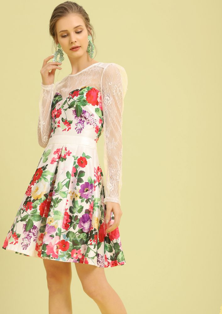 FIND ME A GARDEN WHITE SKATER DRESS