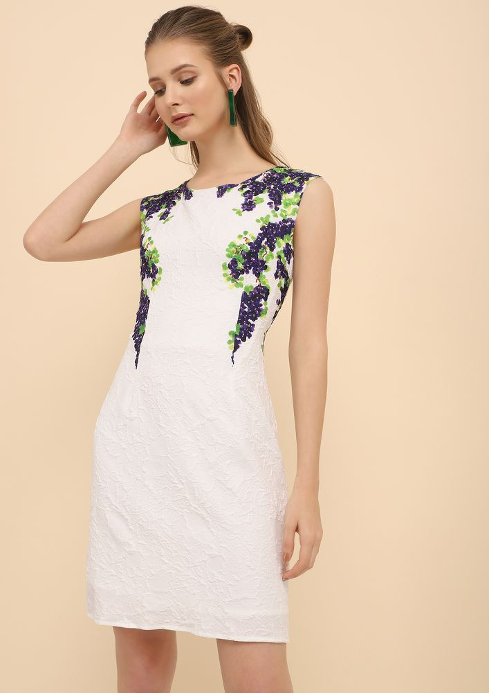 SHOW ME SOME GRAPE-TITUDE WHITE TUNIC DRESS