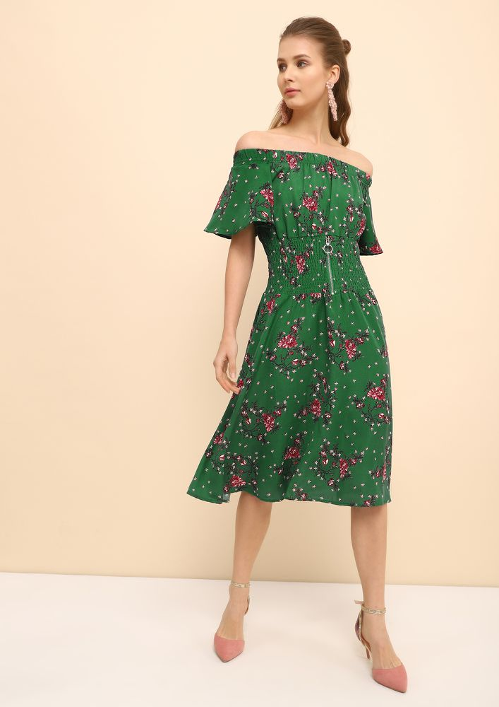 FLOWER ME ALL GREEN SKATER DRESS