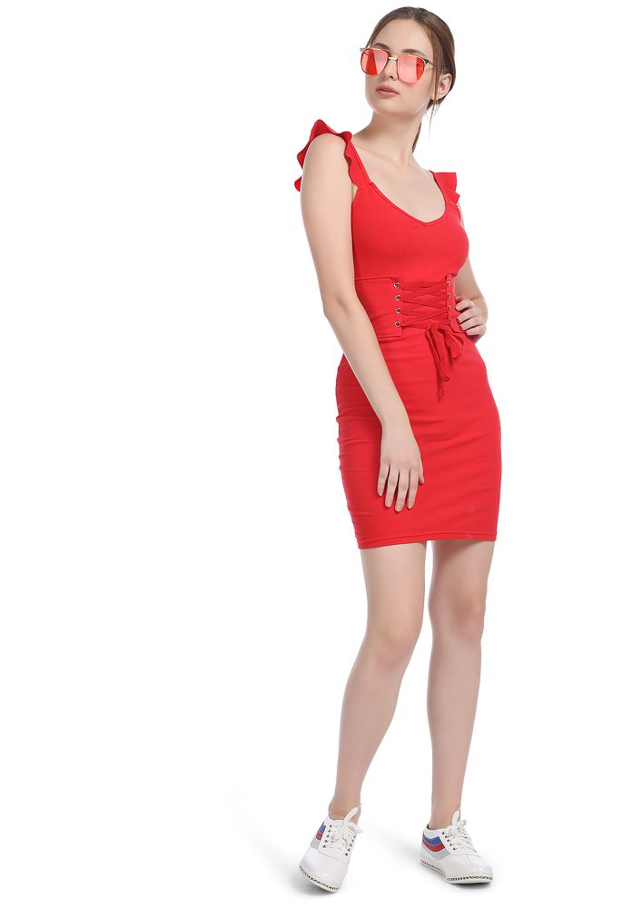 ALL MY EYELETS ON YOU RED BODYCON