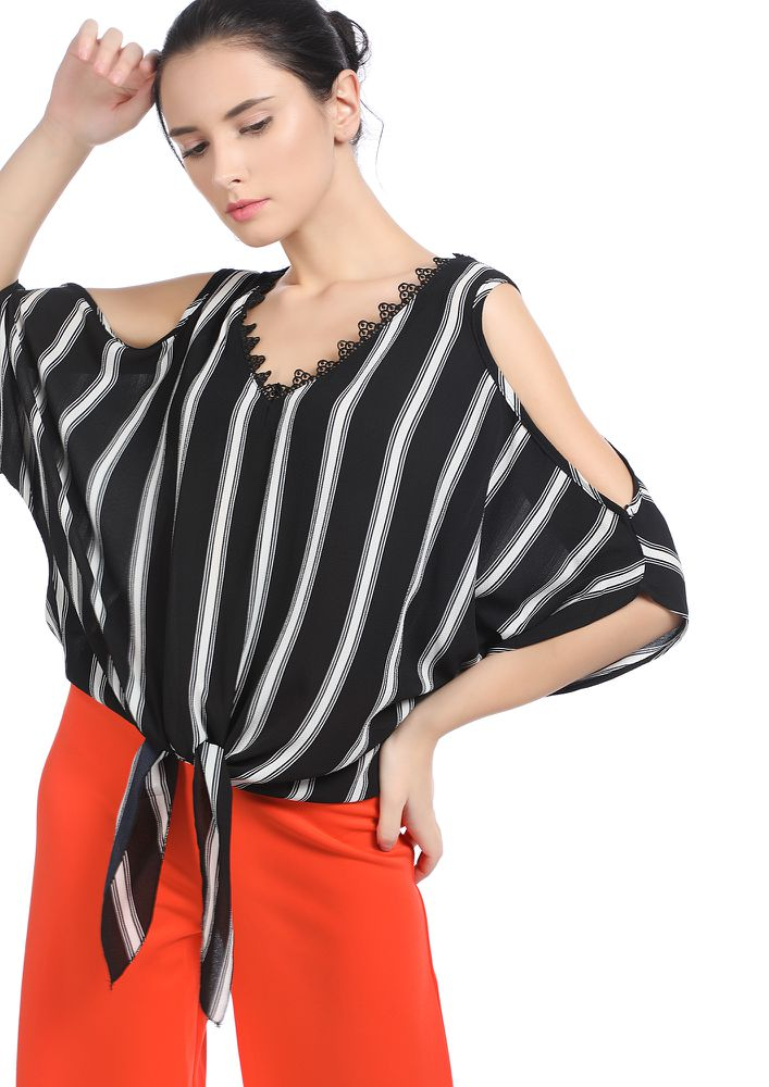 STRIPING AROUND BLACK COLD-SHOULDER TOP