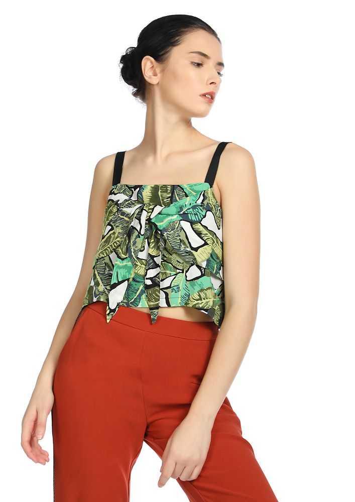 IT'S A JUNGLE OUT THERE GREEN CROP TOP