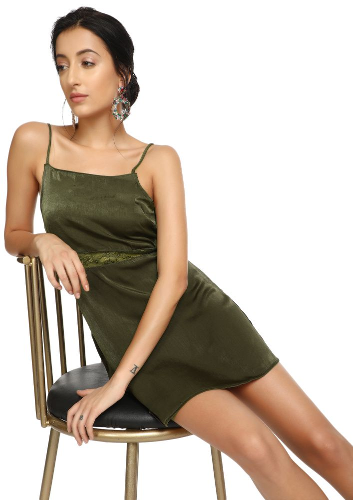 After-Party Lounge Khaki Green Shift Dress