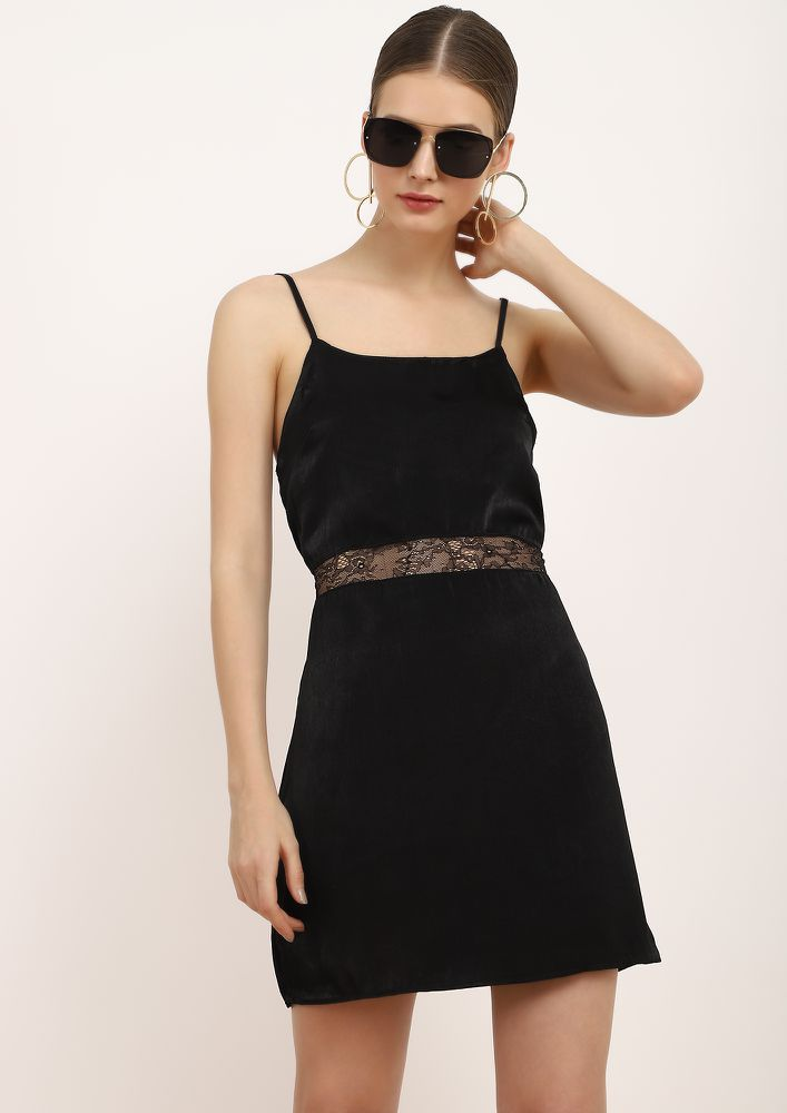 AFTER-PARTY LOUNGE BLACK SHIFT DRESS