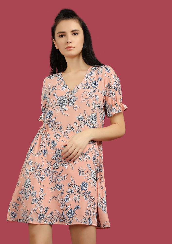 PRETTY FLOWERS ON ME PINK SKATER DRESS