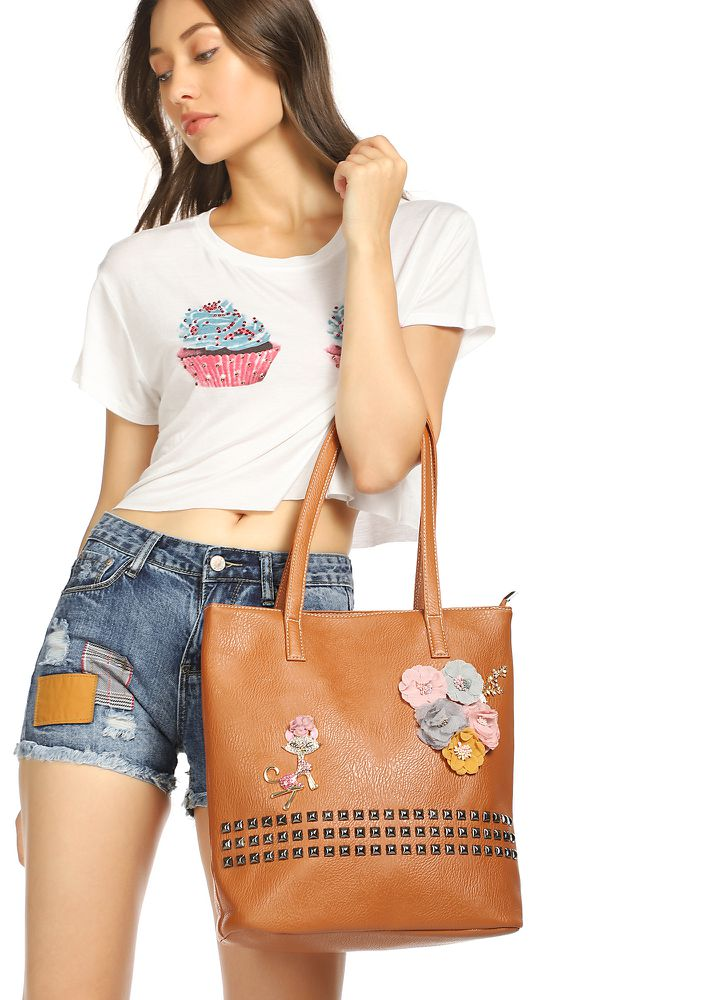 KEEP ON FLOWERING TAN TOTE BAG