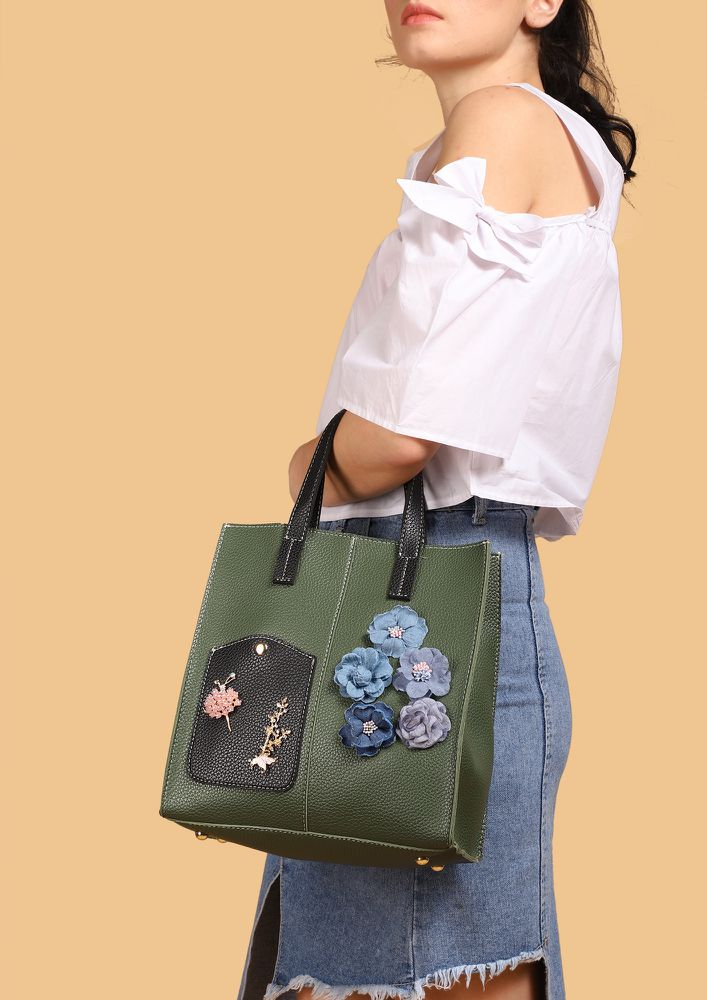 SO GOOD SO FLOWER GREEN TOTE BAG