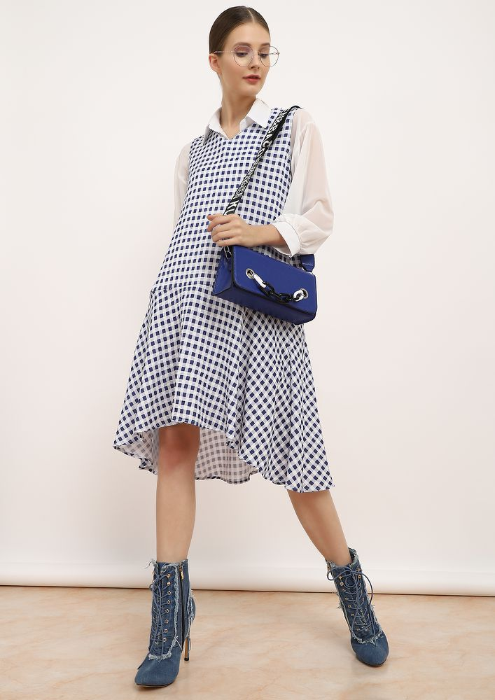 LOVE MY CHECKERBOARD BLUE SHIFT DRESS