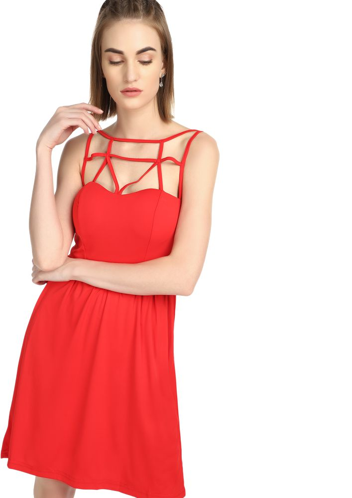 LOVE IS IN AIR RED SKATER DRESS