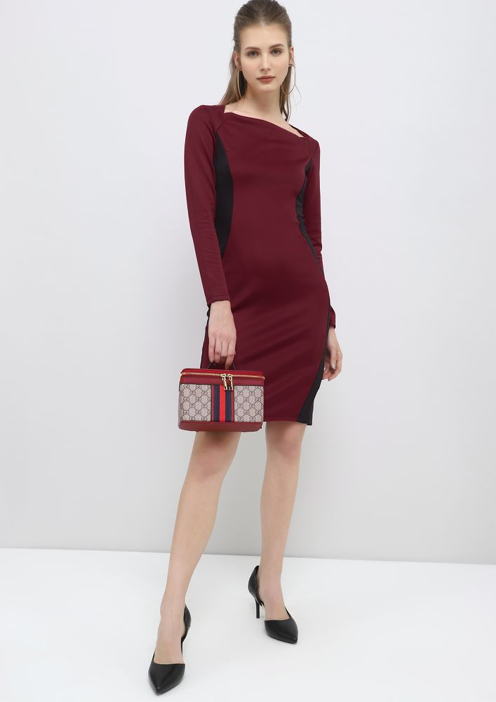 ON-DUTY CHIC BURGUNDY PENCIL DRESS
