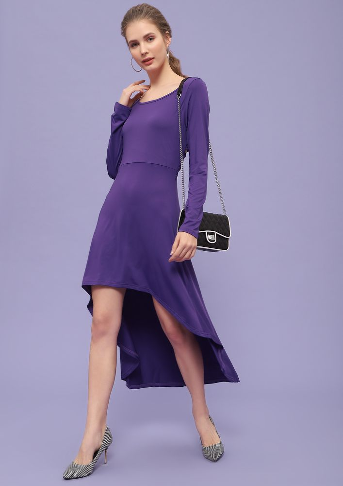 SLAY GAME ON PURPLE ASYMMETRICAL DRESS