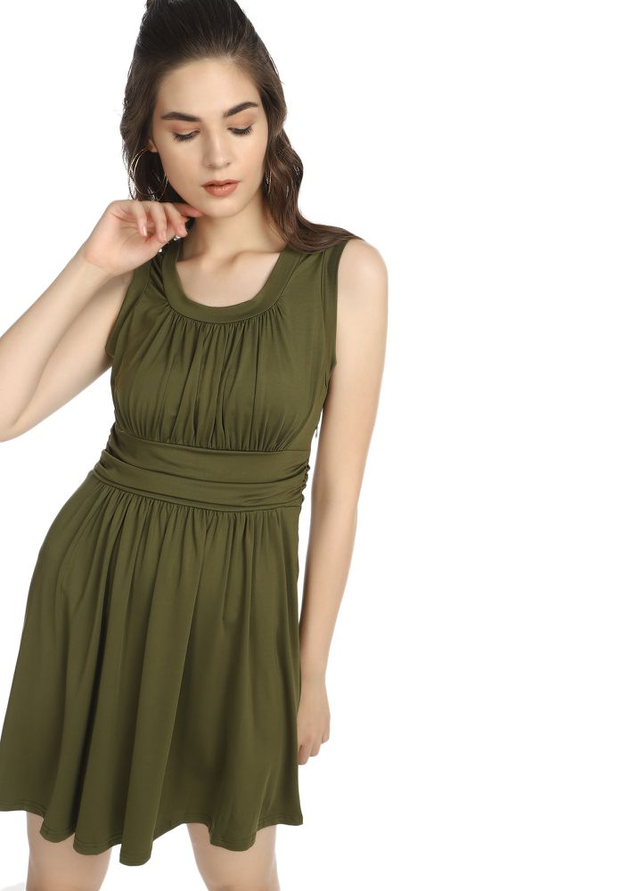 FALL OF THE SEASON OLIVE GREEN SKATER DRESS