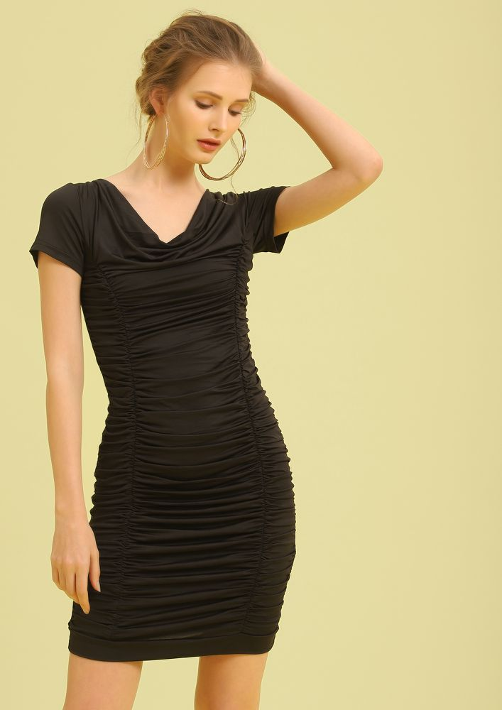 WORK TO-GATHER BLACK MIDI DRESS
