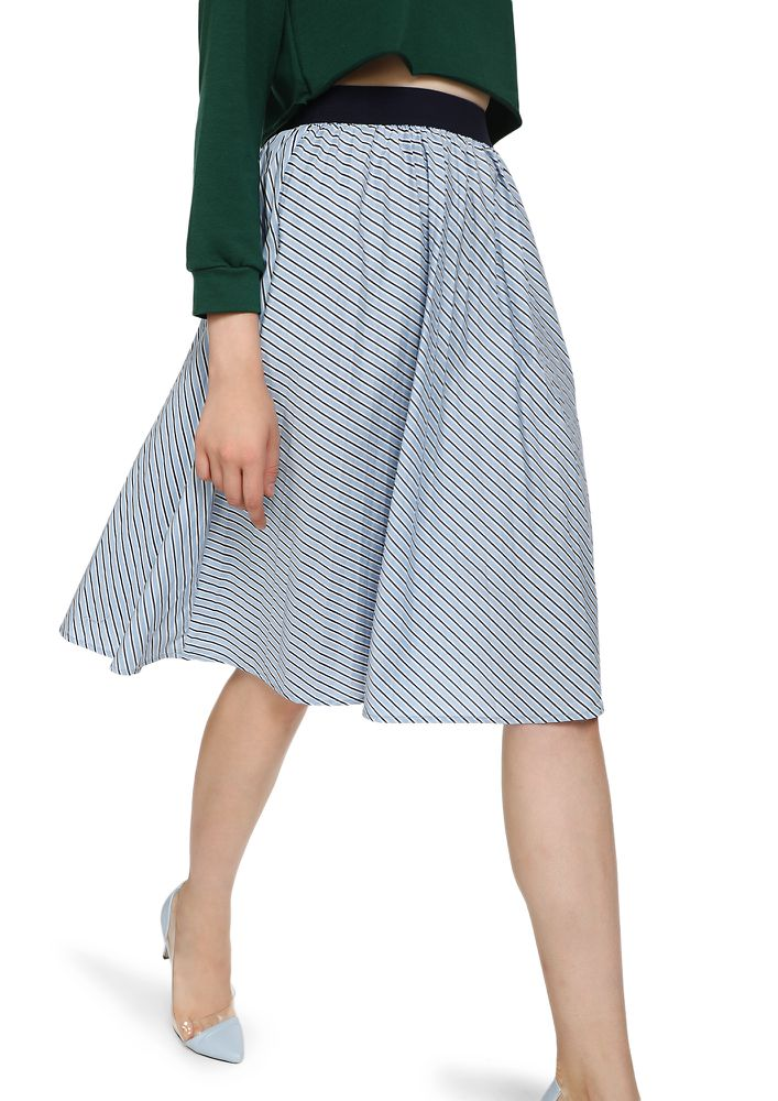ECHOING YOUR THOUGHTS LIGHT BLUE MIDI SKIRT