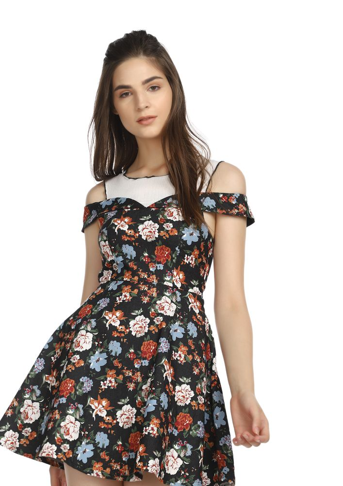 FUN AND FLOWERS BLACK SKATER DRESS