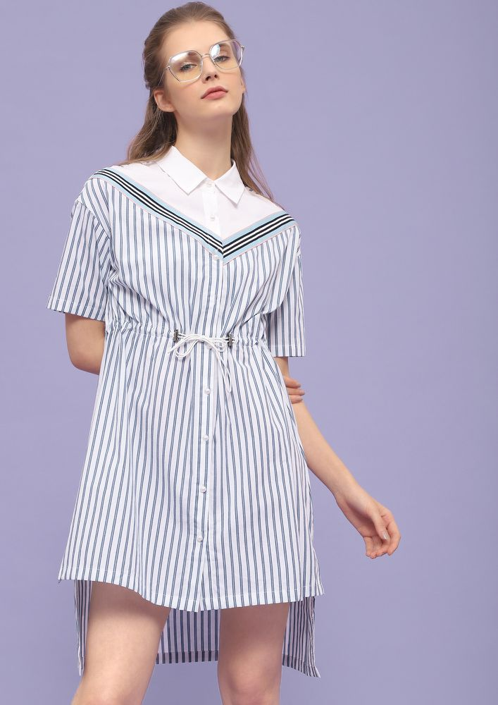 STREAMLINE YOUR PRIORITIES BLUE SHIFT DRESS