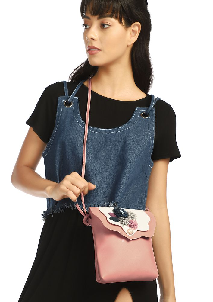 YOU FLOWER ME PINK SLING BAG