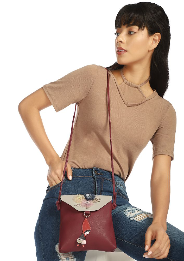 I'M REALLY CUTE MAROON SLING BAG