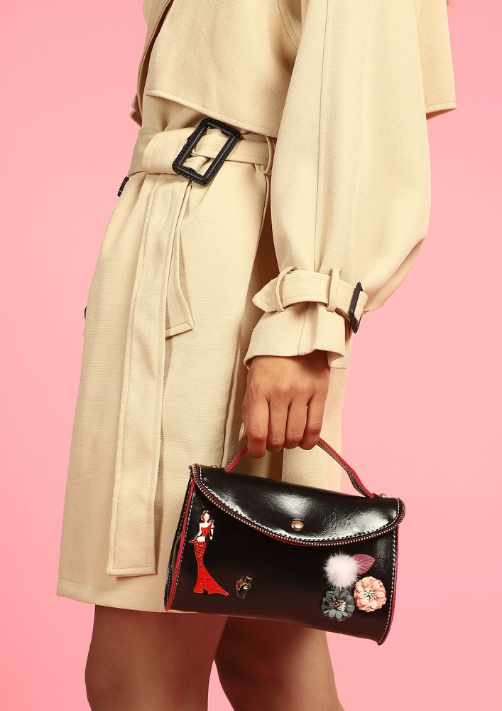 YOU'RE SUCH A DARLING BLACK SLING BAG