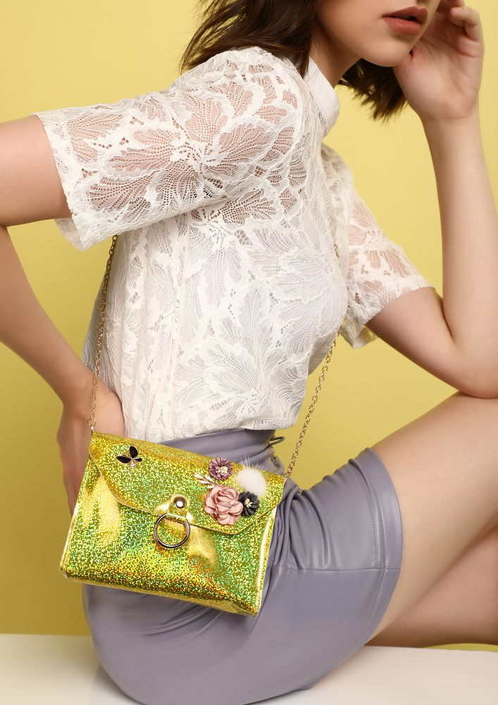 MAKE ME SHINE YELLOW PINK SLING BAG