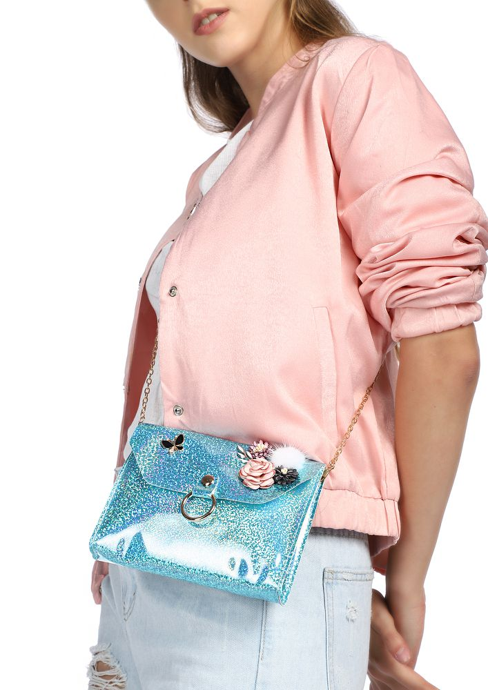 MAKE ME SHINE BLUE PINK SLING BAG