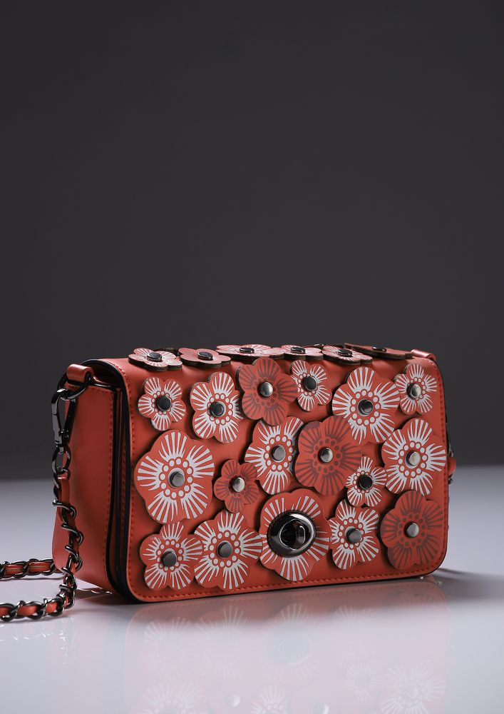 FLOWER YOU BABE RED SLING BAG
