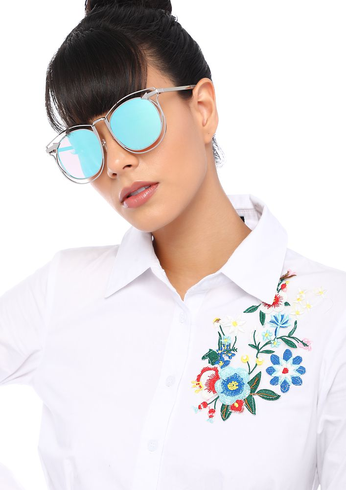 ALL ARROWS AT ME BLUE CAT-EYE SUNGLASSES